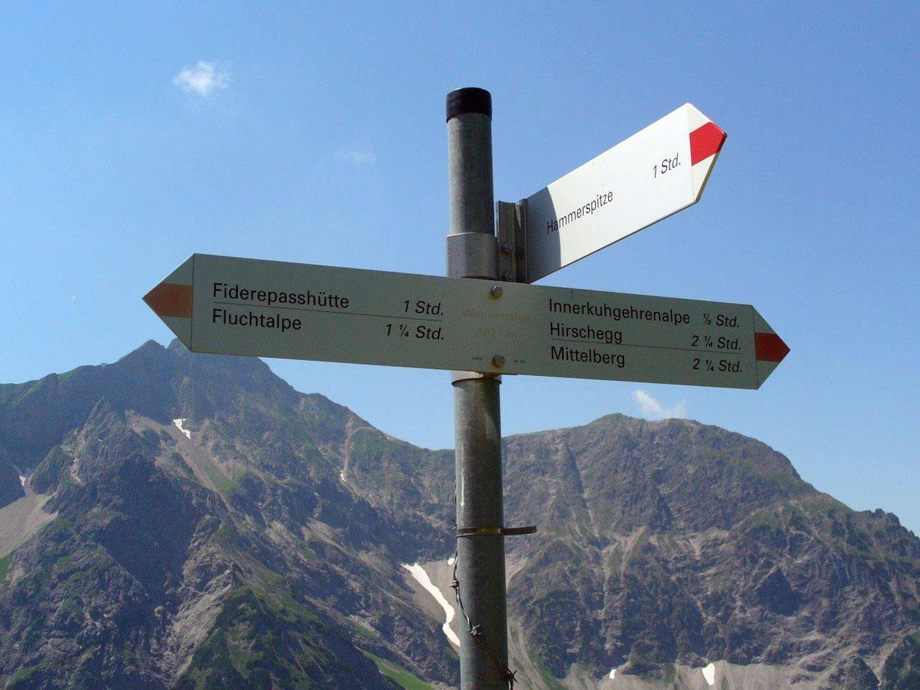 Innere Wiesalpe Kleinwalsertal, Ausflugsziel, Alpe, Brotzeit – Wegweiser