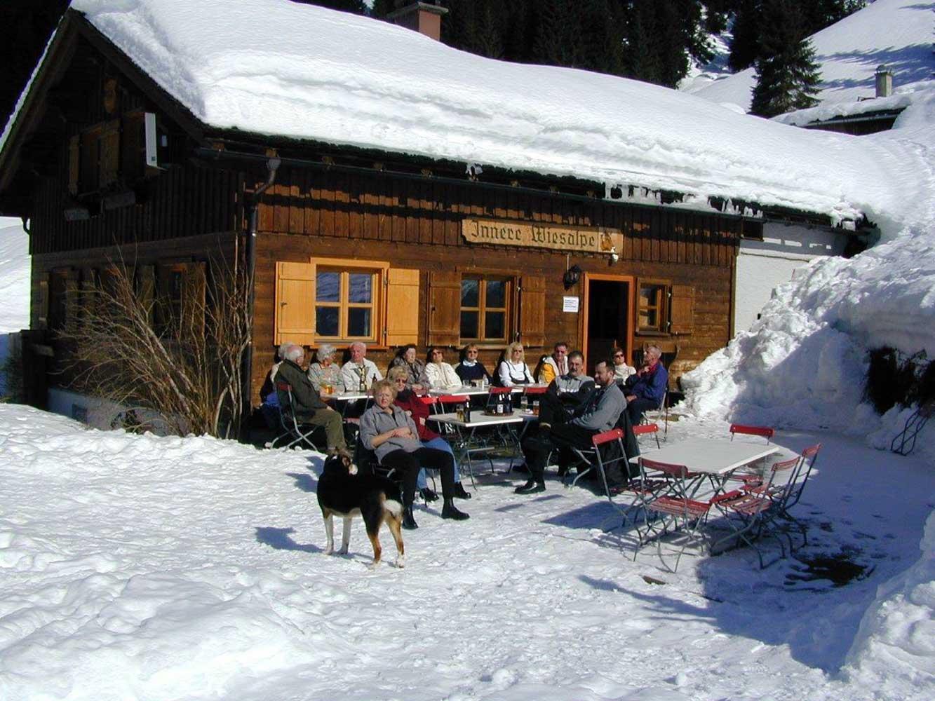 Innere Wiesalpe Kleinwalsertal, Ausflugsziel, Alpe, Brotzeit – Genuß im Winter