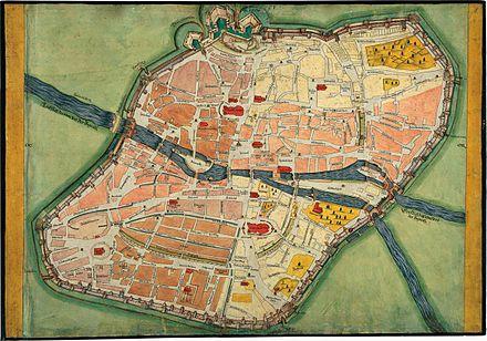 Alter Nürnberger Stadtplan mit Stadtmauern und Toren und Brücken über die Pegnitz