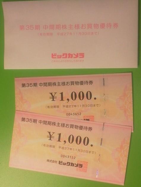 ビックカメラ 株主優待 お買い物優待券 1,000円
