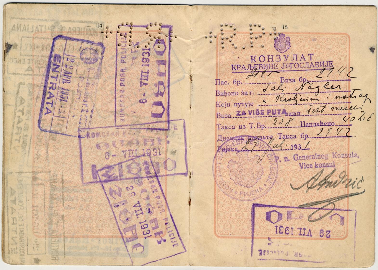 Passaporto polacco di Salo Nagler e Eige 1929 (pag. 8)