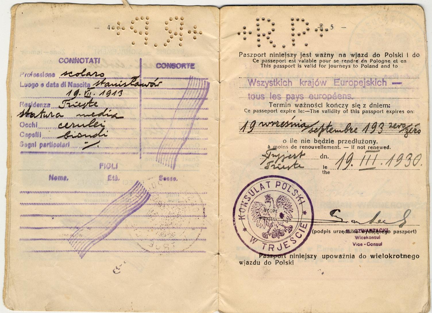 Passaporto polacco di Giacomo Nagler (Kubi) 1929 (pag. 3)