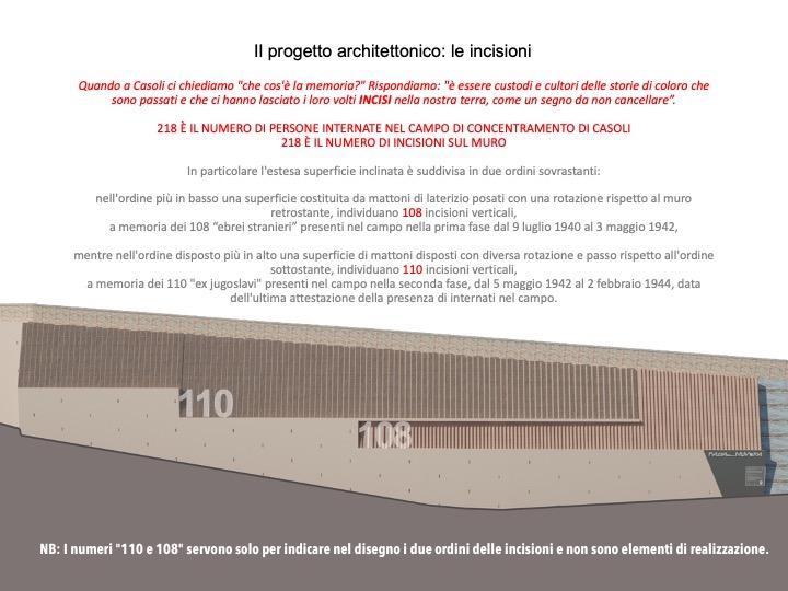 """I numeri """"110 e 108"""" servono solo per indicare nel disegno del progetto i due ordini delle incisioni e non sono elementi di realizzazione."""