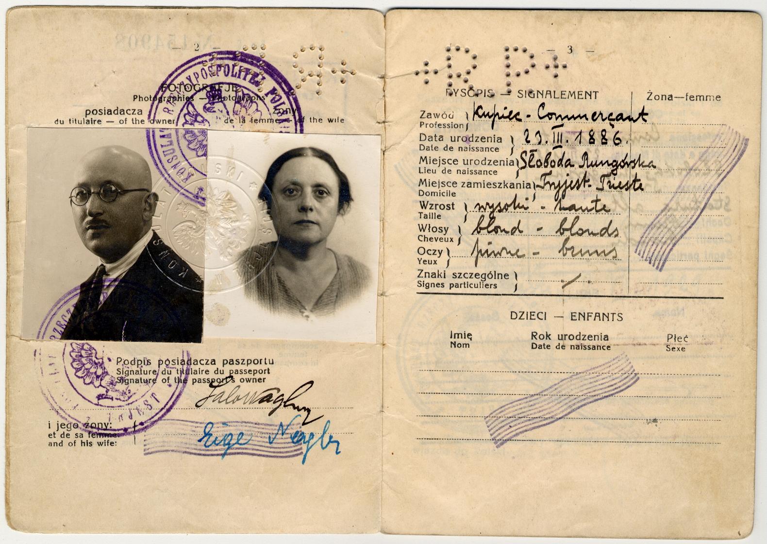Passaporto polacco di Salo Nagler e Eige 1929 (pag. 2)