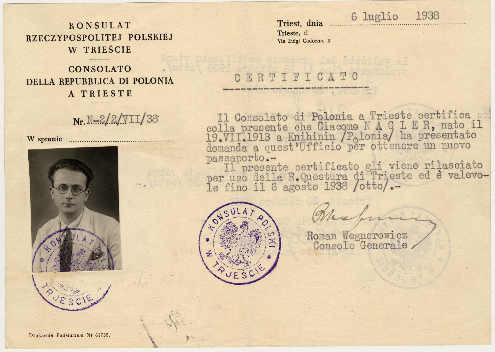 Konsulat polacco 06.07.1938 fronte