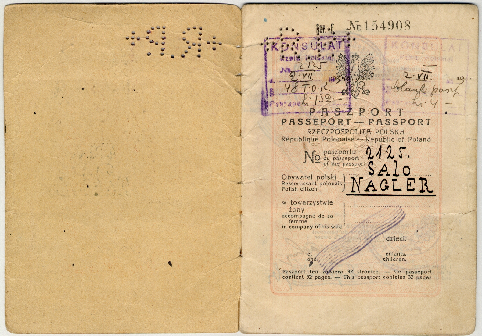 Passaporto polacco di Salo Nagler e Eige 1929 (pag. 1)