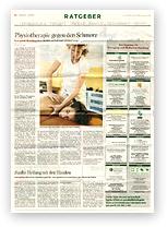 """Grafik: Preview Hamburger Abendblatt / """"Physiotherapie gegen den Schmerz"""", 17./18.09.2016"""