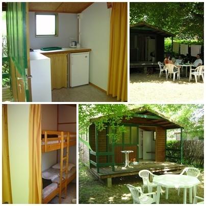 Camping *** Le Moulin des Donnes, Lot, les chalets bois avec terrasse