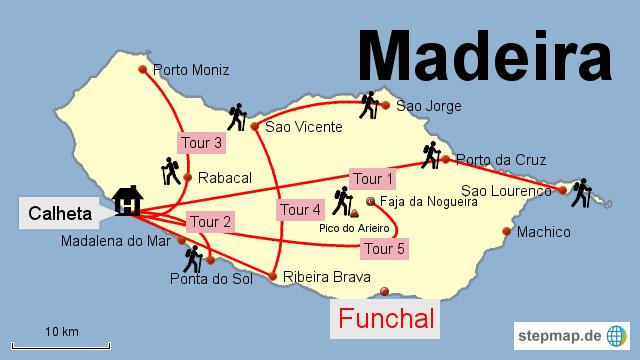 Bild: Karte mit de Wanderungen auf Madeira