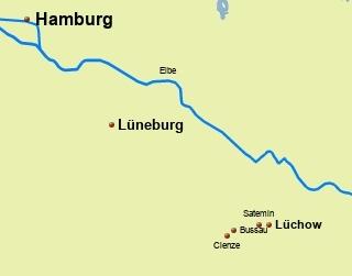 Karte unserer Strecke von Hamburg ins Wendland zur Kulturellen Landpartie