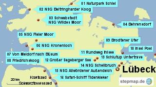 Bild: Karte der Wanderungen nördlich von Lübeck in Norddeutschland