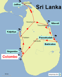 Karte mit meiner Rundreise durch den Norden von Sri Lanka