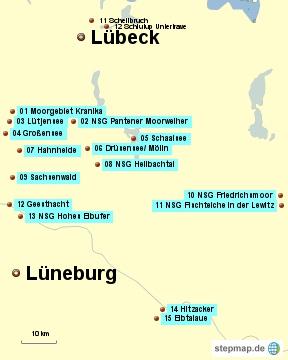 Bild: Karte mit den Wanderungen zwischen Lübeck und Lüneburg, östlich von Hamburg