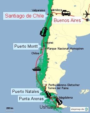 Bild: Reiseroute durch Chile 2015