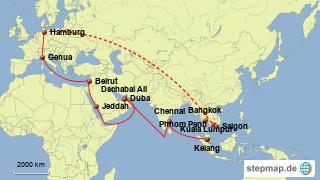 Bild: Karte der Reise von Hamburg durch den Suezkanal nach Asien