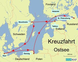 Bild: Karte der Ostsee-Kreuzfahrt