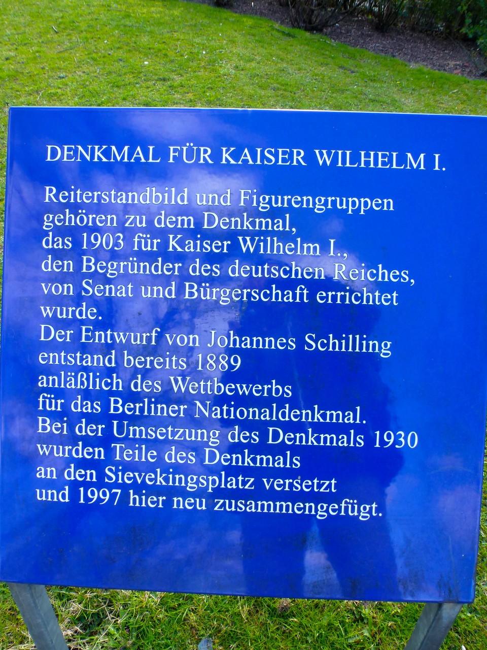 Tafel an der Statue Kaiser Wilhelm I.