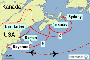 Bild: Karte der Kreuzfahrt USA/Kanada