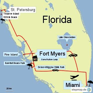 Bild: Karte von Florida mit Miami, Fort Myers und St. Petersburg
