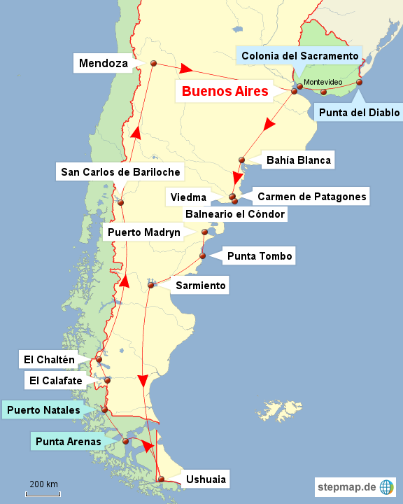Bild: Karte der Reiseroute Argentinien, Uruguay und Chile