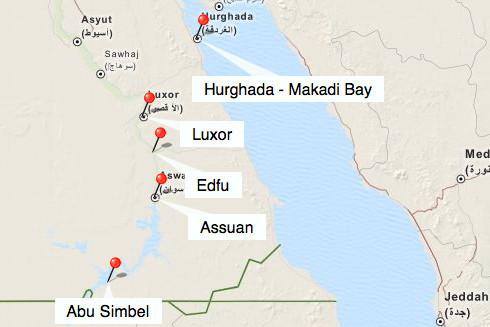 Bild: Karte der Rundreise durch Ägypten