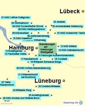Bild: Karte mit den Wanderungen zwischen Lübeck und Lüneburg - westlich mit Hamburg