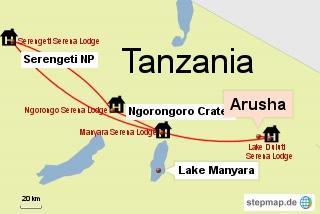 Bild: Die Route unserer Safari durch Tansania mit den Unterkünften
