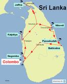 Karte von Sri Lanka mit der Reiseroute durch den Norden der Insel