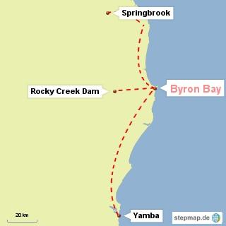 Bild: Karte mit den Ausflugszielen um Byron Bay
