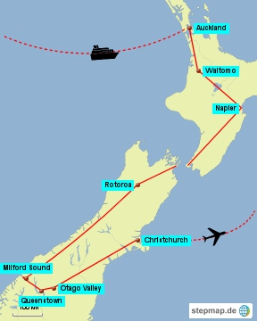 Bild: Karte meiner 17-tägigen Rundreise durch Neuseeland