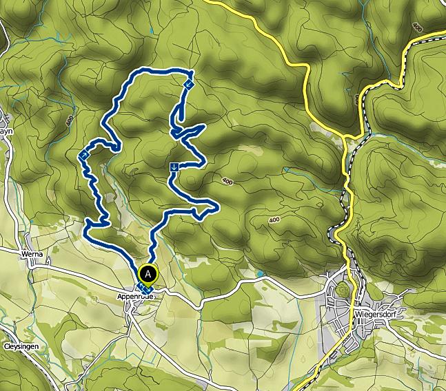Bild: Karte der Wanderung im alten Vulkangebiet von Appenrode im Harz