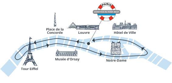 Bild: Strecke der Bootsfahrt mit Vedettes de Pont Neuf auf der Seine in Paris