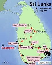 Karte von Sri Lanka mit der Reiseroute