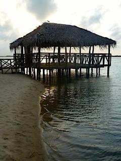 Bild: Strohgedeckte Hütte auf Stelzen im Wasser