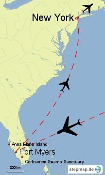 Bild: Karte der 2. Reise nach Florida
