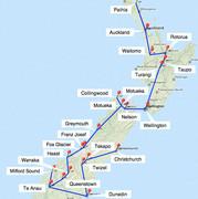 Bild: Reiserouten der Rundreisen durch Neuseeland