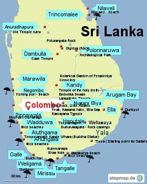 Bild: Karte mit den Sehenswürdigkeiten von Sri Lanka