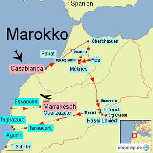 Bild: Reiseroute von der 3 wöchigen Rundreise durch Marokko