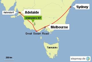 Bild: Karte der Reiseroute in Australien von Sydney nach Adelaide