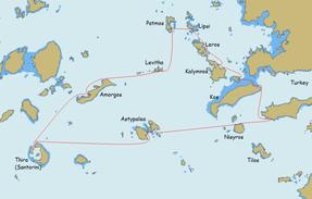 Karte des Segeltörns  durch die südlichen Sporaden und Kykladen
