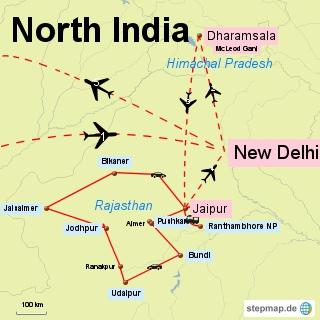 Bild: Karte von meiner Reise durch Nord Indien