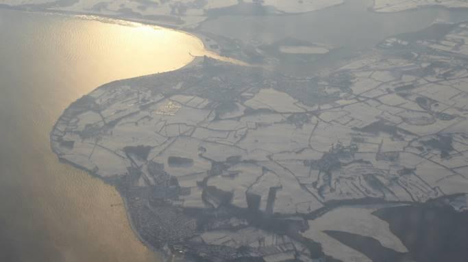 Bild: Foto aus dem Flieger auf den Bodden