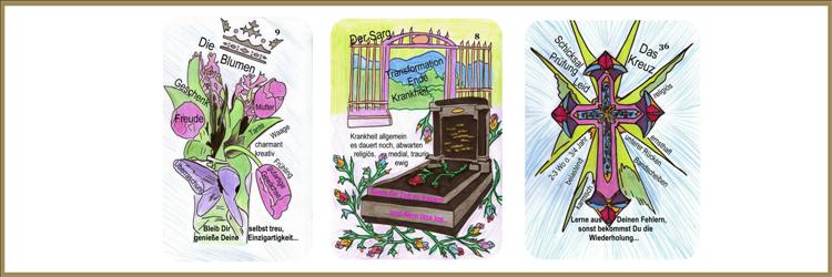 Blumen, Sarg und Kreuzkarte Lenormand