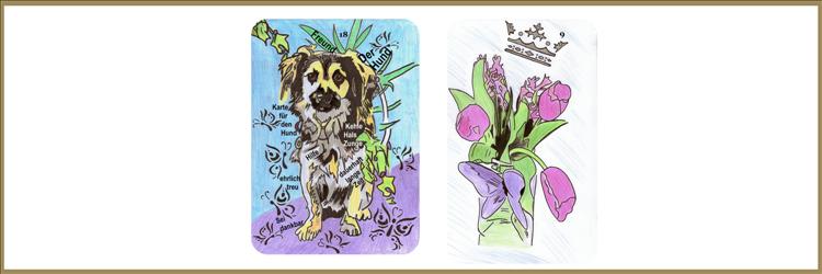 Blumen und Hundkarte Lenormand