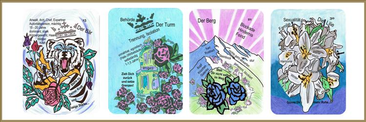 Bär, Tum, Lilie und Bergkarte Lenormand