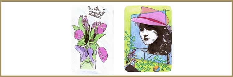 Blumen und Damekarte Lenormand