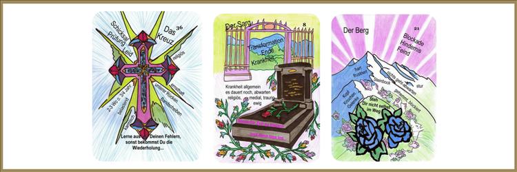 Kreuz und Sarg und Berg Lenormandkarten