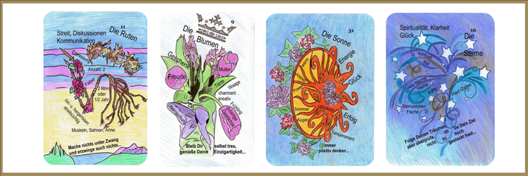 Ruten, Blumen, Sonne und Sternenkarte Lenormand