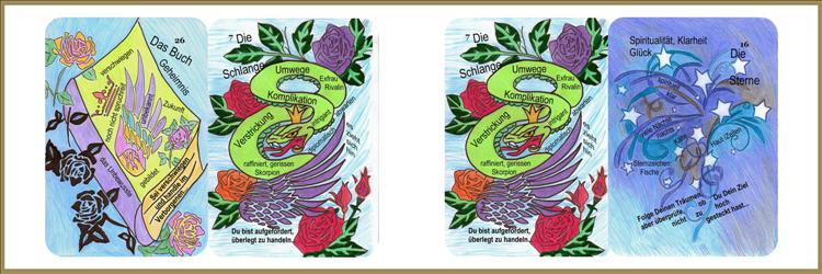 Lenormandkarten Buch, Schlange und Schlange, Sterne