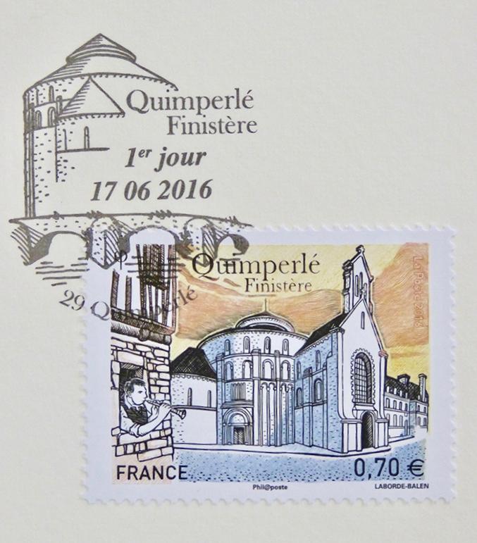 Le timbre oblitéré avec cachet de l'émission premier jour.